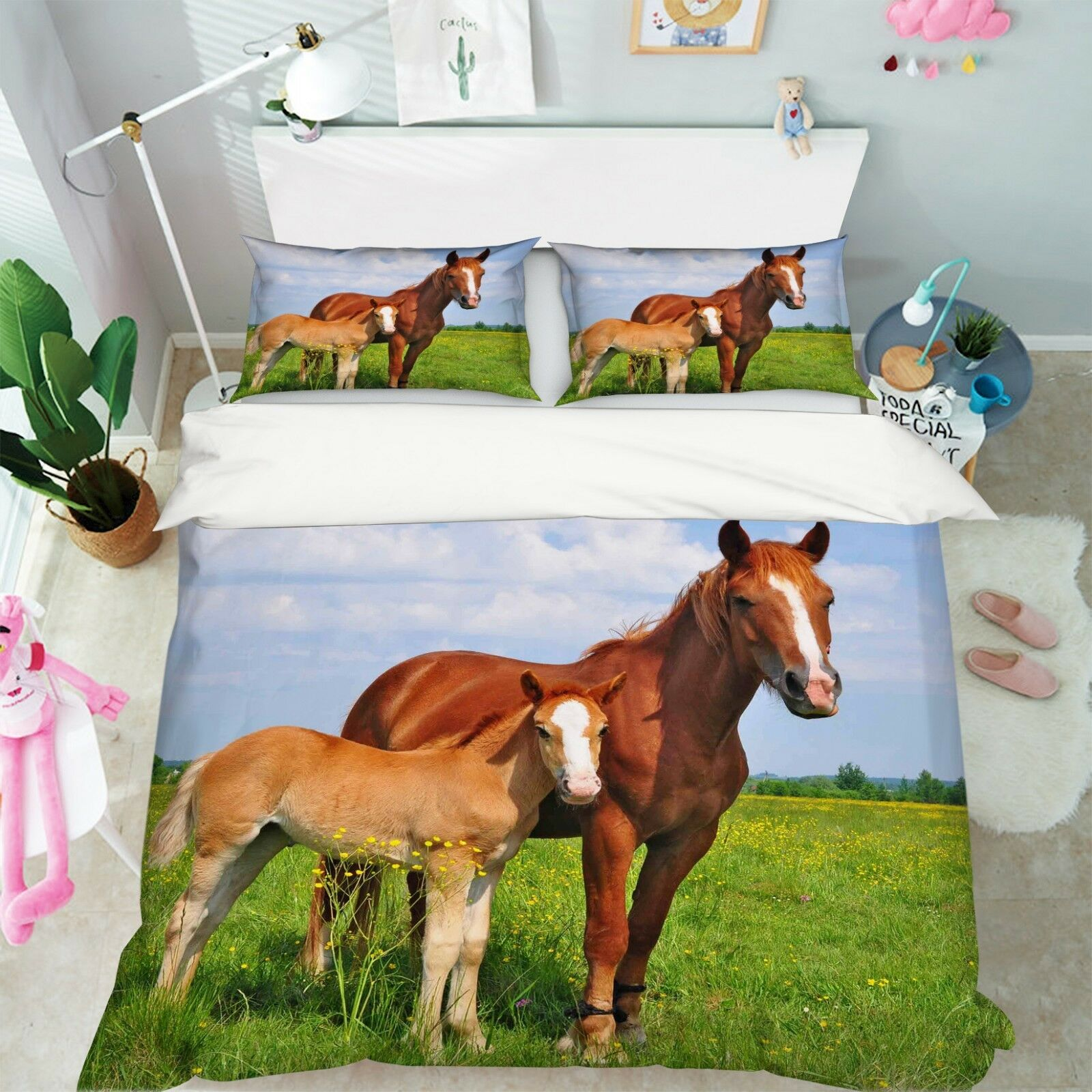 3D Zwei Pferde Prärie 4 Bett Kissenbezüge steppen Duvet Decken Set Single DE