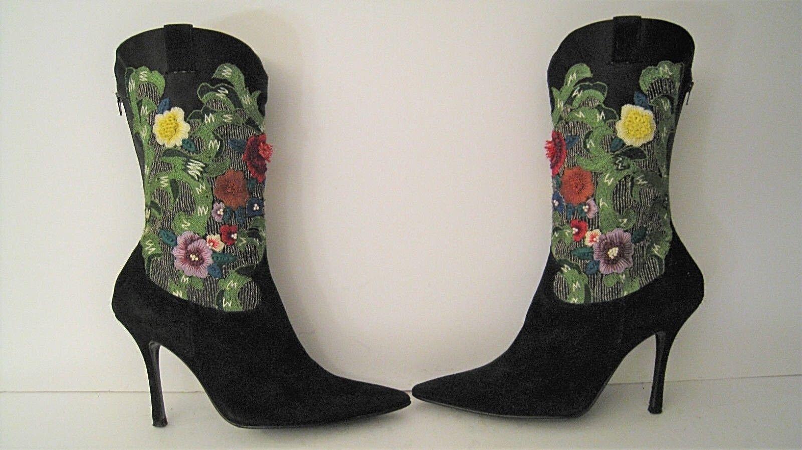 Rene Caovilla Couture Negro botas botas botas De Gamuza De Seda Bordado De Alto 38.5 Como Nuevo Italia 69a229