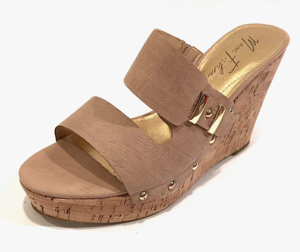 MARC FISHER Women's Tan Hubie Size 10 M Tan Women's Platform Wedge Leather Sandals 67305e