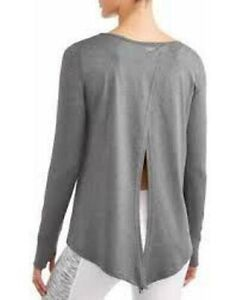N-Y-L-Sport-Women-039-s-Active-Crewneck-Tie-Back-Long-Sleeve-T-Shirt-Charcoal-Lg