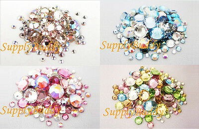 144 Multi Size & Color Swarovski Flatback Crystal Rhinestone Nail Art Mix Pack