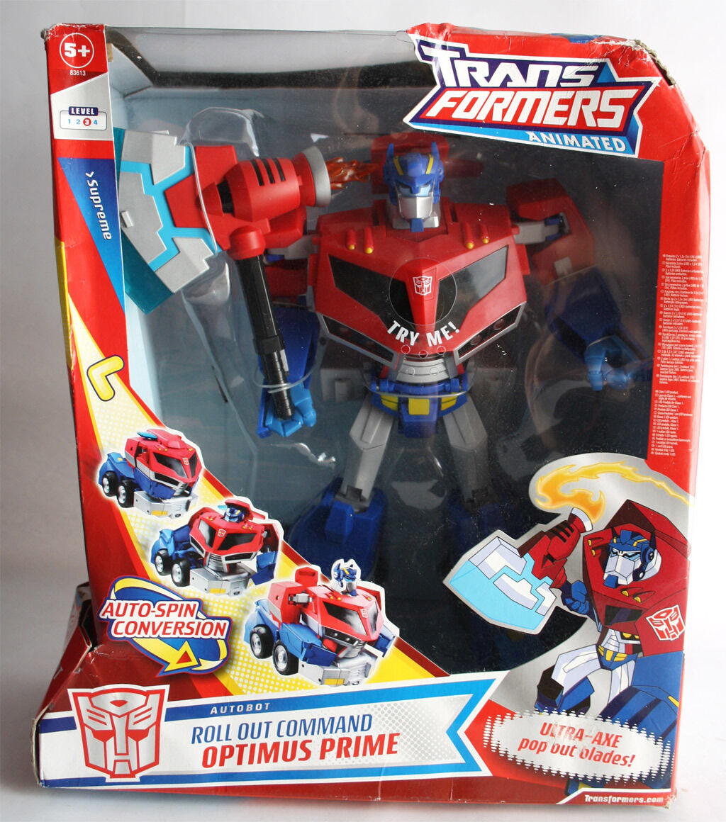 TRANSFORMERS ANIMATED 2008 OPTIMUS PRIME ROLL OUT COMMAND SUPREME CLASS NEW MISB