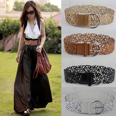 New Fashion Stylish Women Lady Wide Leather Hollow Buckle Waistband Belt