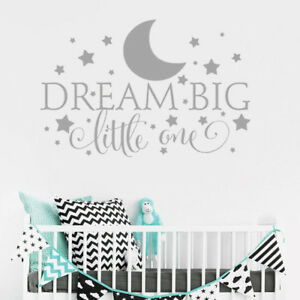 Details about Personalise Custom Dream Big Little One Quote Baby Boy  Bedroom Wall Sticker