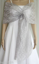 Silver Lace Pull-through Shawl Wrap Scarf Perfect for Bridal Prom Formal NWT !!