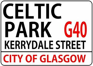 CELTIC-PARK-KERRYDALE-STREET-london-road-style-METAL-SIGN-scottish-football-gift