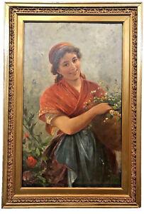 GEORGES-KUGELMANN-BENDA-FRENCH-1873-c-1961-FLOWER-GIRL-OIL-ON-CANVAS