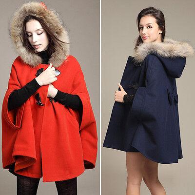 4-16 Oversize Hooded Poncho Womens Winter Warm Faux Fur Cape Jacket Cloak Coat