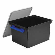 Storex Portable File Tote Withlocking Handle Storage Box Letterlegal Blacksilver