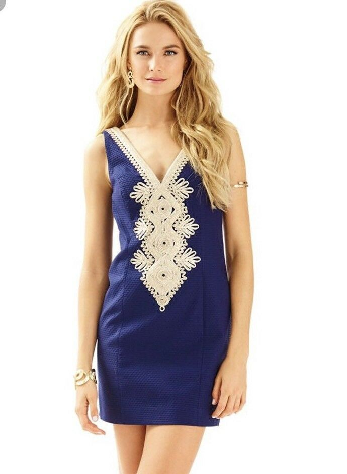 NWT  Lilly Pulitzer Junie Shift Dress True Navy gold Embroidered Sz 00