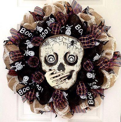 Whispering Skull Handmade Halloween Deco Mesh Wreath