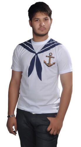Sailor Man Printed T-Shirt White Navy Anchor Design Fancy Dress Party