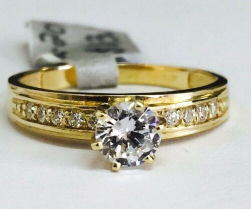 Solid 14K Yellow Gold Round Cut CZ Cubic Zirconia Stone Engagement Ring Size 7