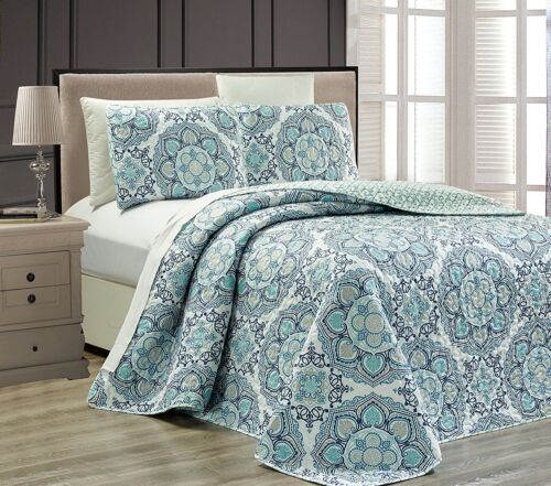 Fancy Linen 3pc Oversize Blue Navy Blue White Bedspread Reversible All Sizes New