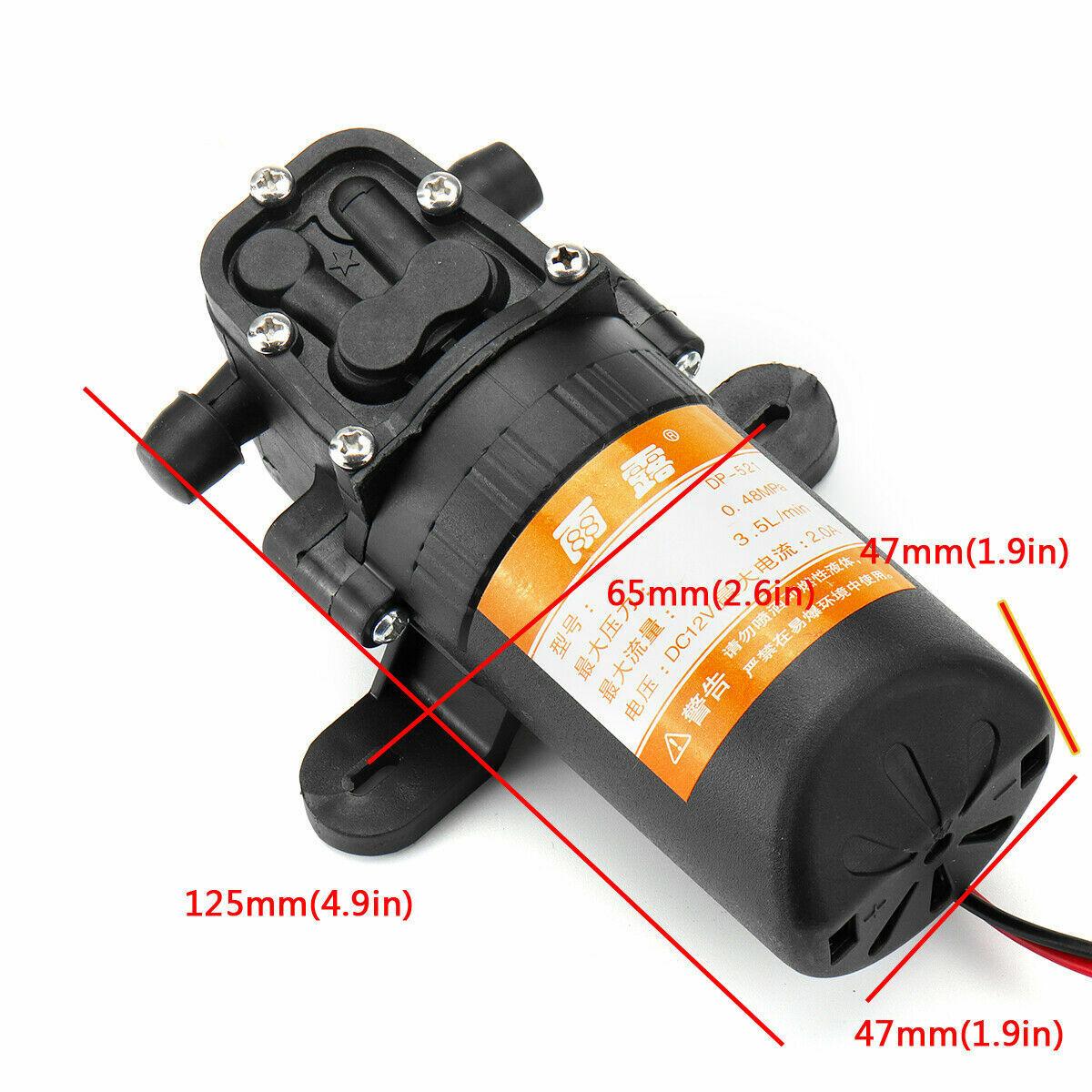 12V Water Pump 70PSI Self Priming Pump Diaphragm High Pressure Automatic Switch