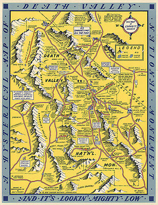 Midcentury Pictorial Map of Death Valley National Monument Wall Art Poster Print