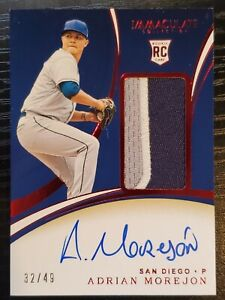 Adrian Morejon Autographed Rookie Relic #32/49 2020 Immaculate Auto Patch RPA