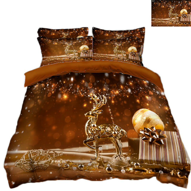 3D Christmas  Xmas Deer 8 Bed Pillowcases Quilt Duvet Cover Set Single Queen UK