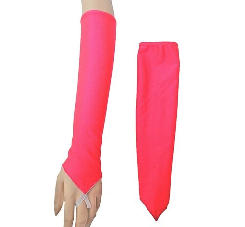 Freestyle Disco Accessories Arm Gloves to Finger PAIR MATT LYCRA ALL COLOURS