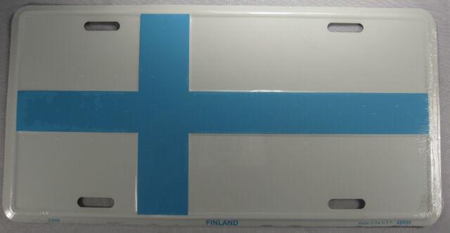 FINLAND FLAG METAL LICENSE PLATE FINNISH CAR SIGN L206