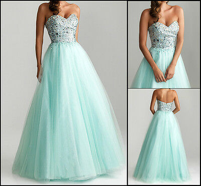 Long Sweetheart A-Line Tulle Evening Ball Formal Prom Party Dresses Wedding Gown