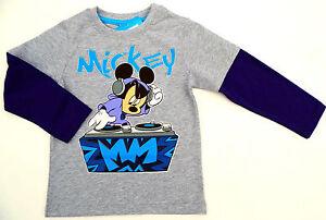 NEU-Disney-Mickey-Mouse-Motiv-Langarmshirt-Longsleeve-Shirt-grau-98-104-116-128