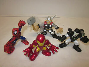 Lot-of-4-MARVEL-Super-Hero-Squad-Avengers-Iron-Man-War-Machine-Spiderman-Thor