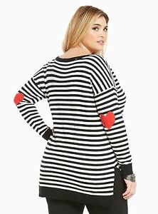nwt torrid plus size 4x blk/wht striped heart patch elbow sweater