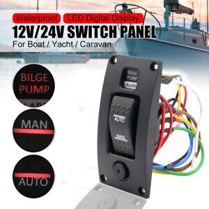 Three-Way Rocker Panel Bilge Pump Switch with Circuit Breaker FO-3851-1
