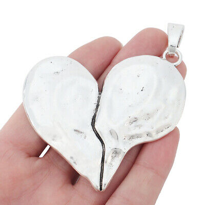2 X Tibetan Silver Large Hammered Flower Charms Pendants Jewelry Necklace Making