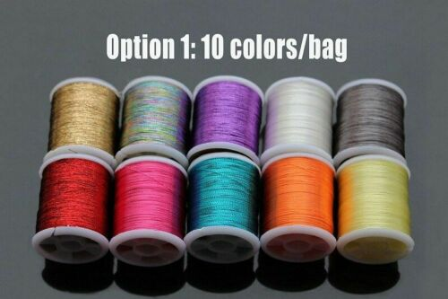 20 Colors Spools Set 40 Yards Small Glitter Tinsel Thread Line Fly Fishing Bait