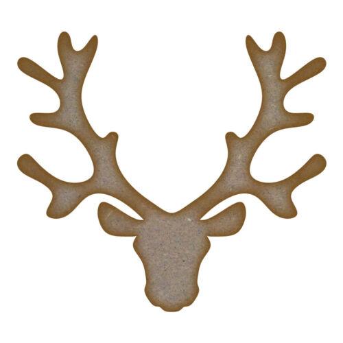 Reindeer Head MDF Laser Cut Craft Blanks in Various Sizes