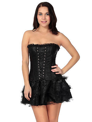gothic lace trim basque fully boned over bust corset dress