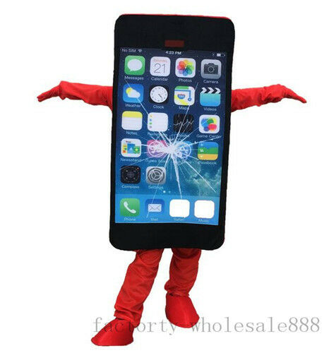 Mobile Advertising Cell Phone Mascot Dress Costume Suits Cosplay Adults Size Hot