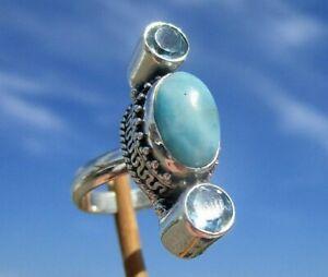 Larimar-Ring-Gr-16-5-Silber-925-mit-Blautopas