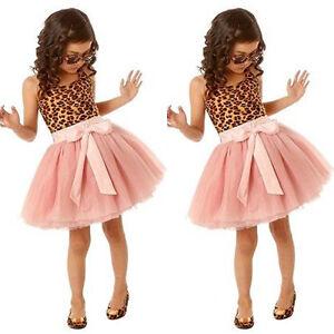 Princess-Kids-Baby-Girl-Leopard-Tutu-Dress-Party-Pageant-Birthday-Dress-Sundress
