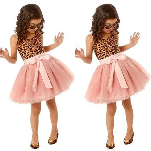 Bow Flower Baby Girls Kids Wedding Bridesmaid Pageant Party Tulle Formal Dresses