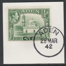 Aden 5282 - 1939 KG6 1/2a on piece with MADAME JOSEPH FORGED POSTMARK