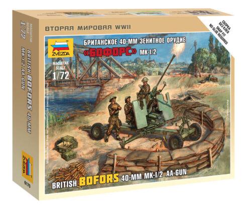 6170 Zvezda model kit british bofors 40-mm MK-1//2 AA-gun scale 1//72