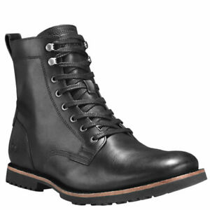 TIMBERLAND-A1N19-KENDRICK-MEN-039-S-BLACK-SIDE-ZIP-LEATHER-BOOTS