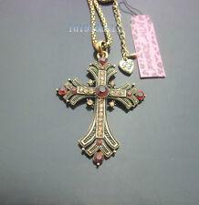 689  Betsey Johnson Vintage Style Crystal Antique Bronze Cross Pendant Necklace