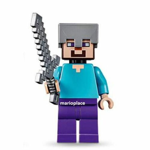 LEGO Minecraft 21121 Steve with Helmet and Weapon Minifigure NEW