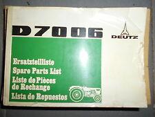 DEUTZ tracteur D7006 - D 7006 : catalogue de pièces a5