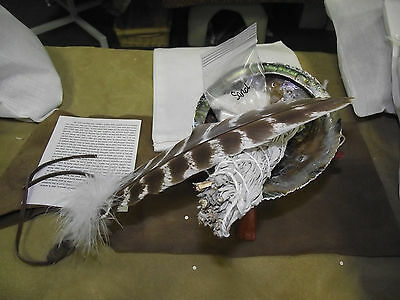 SAGE SMUDGING KIT SAGE SHELL STAND SAND BAG AND FEATHER SMUDGING