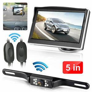 "Wireless Car Backup Camera Rear View HD Parking System Night Vision + 5"" Monitor"