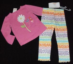 Gymboree 3T 4T Set Pink Butterfly Top Flower Floral Capri Leggings Outlet NWT
