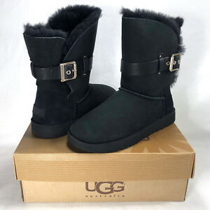 7096c7e8978 Details about UGG JAYLYN BLACK SUEDE/SHEARLING BUCKLE BOOTS, WOMEN'S 8, NEW  IN BOX