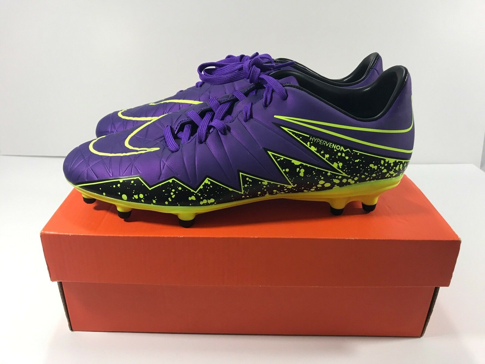 NIKE HYPERVENOM PHELON II FG HYPER GRAPE VOLT Soccer Cleats 749896-550 Comfortable New shoes for men and women, limited time discount