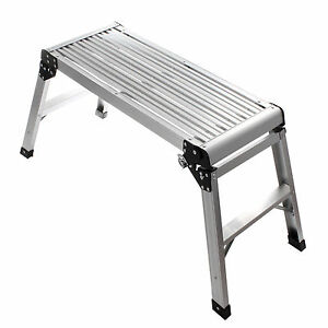 Aluminium Hop Up Step Ladder Odd Job Folding Stool Platform Work Bench