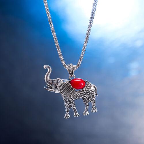 Retro Cut Red Turquoise Elephant Pendant Necklace Earrings Bracelet Set